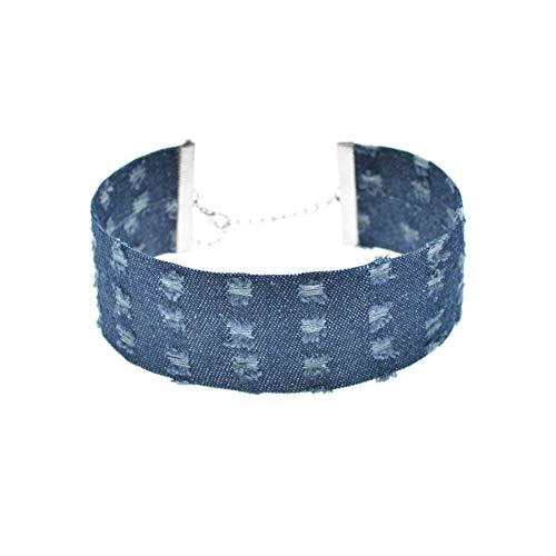 Rose Distressed-leder (CTRCHUJIAN Stilvolle breite Blaue Loch Denim Choker für Frauen Vintage Punk Distressed Jeans Halskette Kette schmuck)