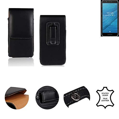 k-s-trade® custodia fondina compatibile con fairphone fairphone 3 borsa per cintura tasca laterale copertina verticale sachetto, pelle nera, 1x