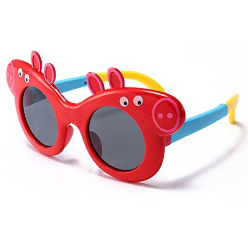 QQBL Ungiftiger Modetrend der Umwelt Schwein-Baby-TAC-Silikon-UV400 Sichtbarperspektive 99 (%) Faltendes Polarisierende Sonnenbrille des Kindes,Red