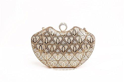 YAN Women Evening Clutch Taschen Hand Clutches Abend Abendtasche Tasche Geldbörse Strass Handtasche Handtasche Prom Bag Damen Umschlag Clutch Bag (Color : Gold)