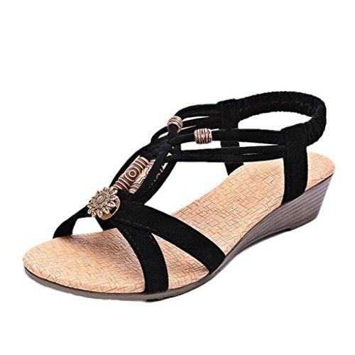 VJGOAL Damen Sandalen, Frauen Casual Fashion Bohemia Peep-Toe Flache Schnalle Schuhe römischen Sommer Weben Sandalen (37 EU, Schwarz)