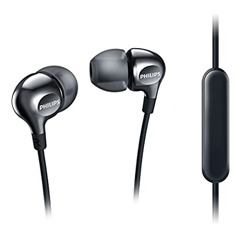 Philips Vibes SHE3705BK Ecouteurs Intra-auriculaires avec Micro, 3 Paires d'Embouts et Câble Renforcé, Noir