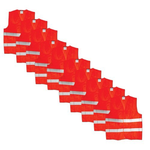 10 Stück Maxpack® Warnweste mit praktischem Klettverschluss in Unigröße --- EN 471, Orange, waschbar (10)