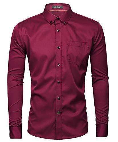 Kuson Herren Business Hemd Slim Fit für Freizeit Hochzeit Reine Farbe Hemden Langarmhemd Weinrot S