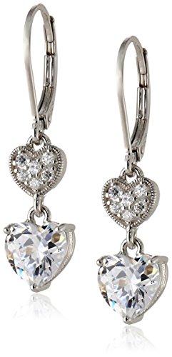 Amazon Sterling Silver Cubic Zirconia Double Heart Lever Back Drop Earrings