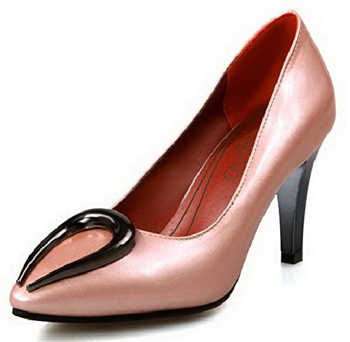 AllhqFashion Damen Blend-Materialien Rein Ziehen Auf Spitz Zehe Stiletto Pumps Schuhe Pink