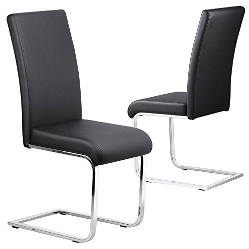 Tinkertonk 2pcs Modern Faux Leather Dining Chairs With Chrome Legs Room Furniture Black