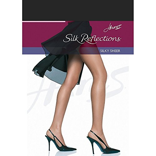 Hanes Women's Silk Reflections Silky Sheer Non-Control Top RT 1 Pair Pack, EF-Jet -
