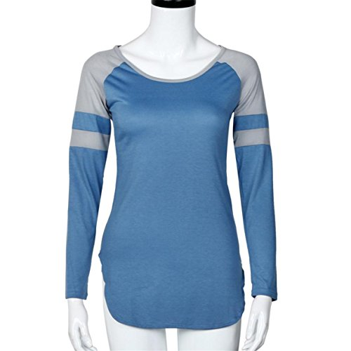 CYBERRY.M Femme Fille Manches Longues Col Rond Rayée T-shirt Blouse Bleu