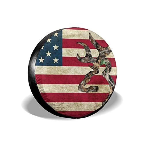 opi 90iuop Coperchio Pneumatici Bandiera Americana Cervo Camo Potabile Universale Ruota di scorta Copriruota Copriruota per rimorchio RV SUV Camion Camper Rimorchio da Viaggio (14,15,16,17 Pollici)
