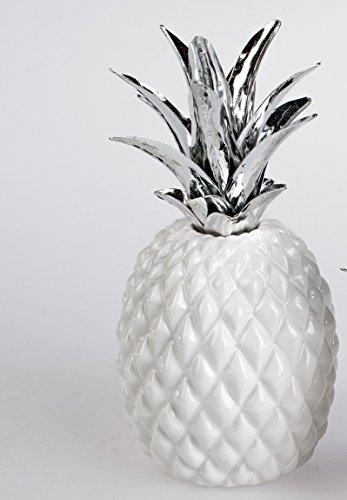 Deko Ananas Obst Früchte aus Keramik in weiß silber (21 cm Ananas)