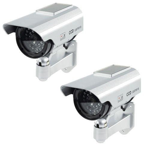 Ex-Pro® Silber Solar Dummy/Fake CCTV Sicherheit Kamera/Outdoor Kamera mit Solarpanel mit Flash-LED [2Stück]