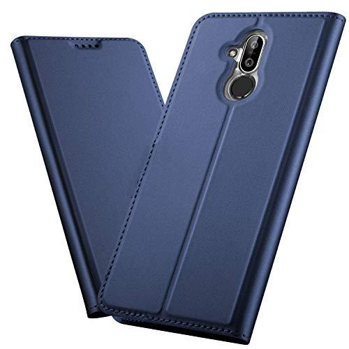 XINKO Nokia 8.1 Wallet Tasche Hülle - [Ultra Slim][Card Slot][Eingebauter Magnet] Flip Wallet Case Etui für Nokia 8.1 - Glatt Series blau