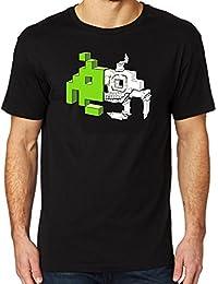 17ecfd038f6 ADAM WILLIS DESIGNS Retro Gaming Space Invader T-Shirt - Skull   Bones Men s  T