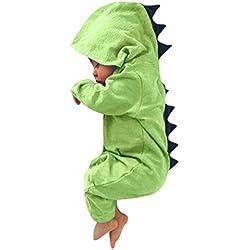 828ba696f ASHOP Bebé Dinosaurio Hooded mameluco ropa Pijama Trajes de niños (Verde
