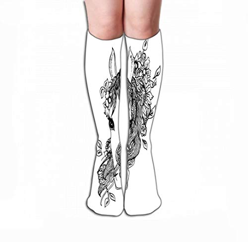 HUKEDCQ Men Women Outdoor Sports High Socks Stocking Abstract Graphic Horse Print Black White Engraving Sketch Flowers wild Things Tile Length 19.7