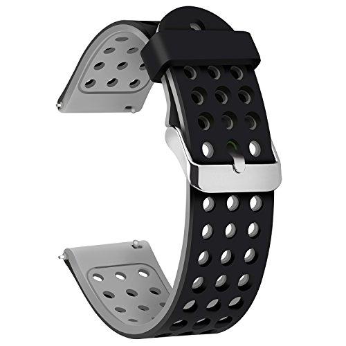 Moretek 18mm 20mm 22mm Correa Banda para Samsung Gear S3 frontier / Gear S3 Classic / Gear2 R380 Neo R381 Live R382 / MOTO 360 2nd/Pebble Time,Samsung Galaxy Gear s2 Classic SM R7320,Huawei Watch (22mm, Black Grey)