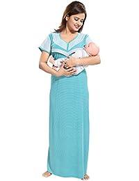 TUCUTE Women's Beautiful Dotted Print Feeding/Maternity/Nursing Nighty/Nightwear.
