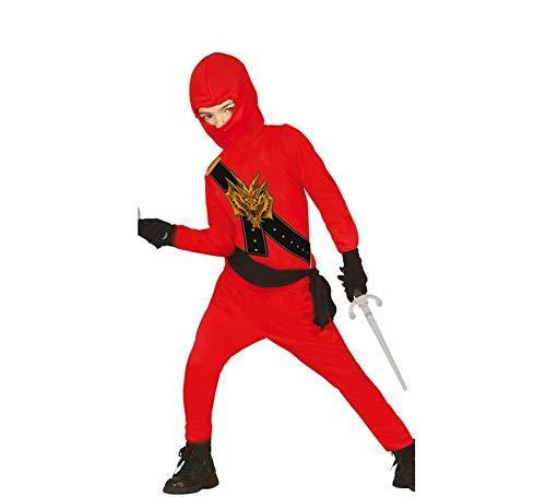Ninja Kostüm für Kinder schwarz-rot mit Dragon-Print - Ninja Kostüm für Kind Jungen rot schwarz 110/116 (Dragon Ninja Kostüm Kind)
