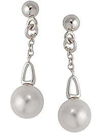 Bijoux pour tous Mujer  Plata de ley (925/1000)  plata  redonda Perlas Simuladas   FASHIONEARRING