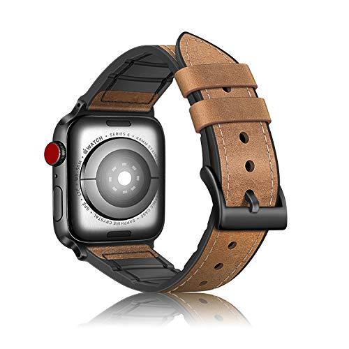 Fintie Armband für Apple Watch 42mm 44mm Series 1 2 3 4 - Uhrarmband aus Leder & TPU Ersatzband Vintage mit Edelstahlschnalle, Braun