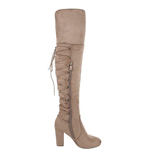 Ital-Design Overknees Damenschuhe Overknees Pump High Heels Reißverschluss Stiefel Hellbraun