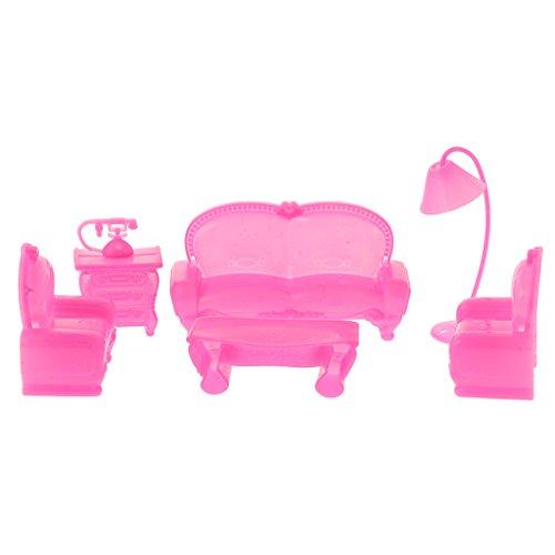 Sharplace 6 Pezzi La Tebella Lampada Sedia Scrivania Telefono Bambole Miniature Arredamento Moda Stile Disegno Bambini Regali Plastica Rosa