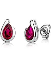 Miore Ladies 9ct White Gold Pear shape Ruby Bezel Earrings MG9242E