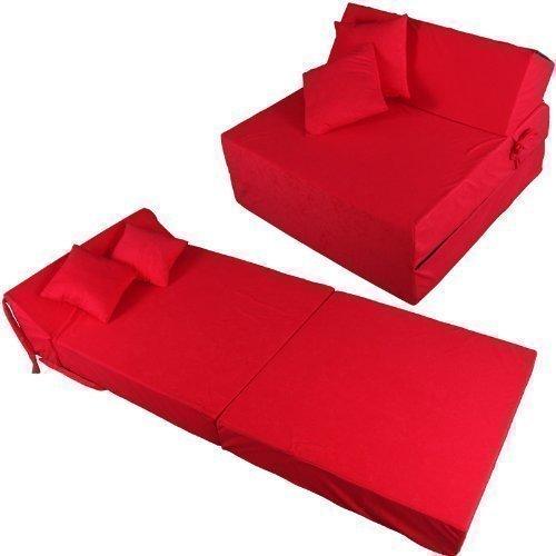 Schlafsessel 180x80x38cm mit 2 Kissen Klappmatratze Gästebett Bettsessel Schlafsofa Faltmatratze (rot)