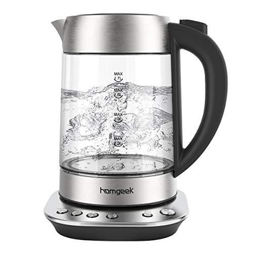 Wasserkocher, Homgeek Wasserkocher mit Temperatureinstellung, 1,7L, 2200W, Wasserkocher Glas mit Warmhaltefunktion 60min, BPA-Frei