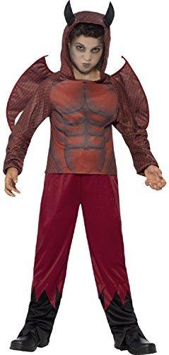 Fancy Me Jungen Luxus rot geflügelter Teufel Gehörnt Kapuze Karneval Demon Halloween Kostüm Kleid Outfit 4-12 Jahre - Rot, 4-6 Years