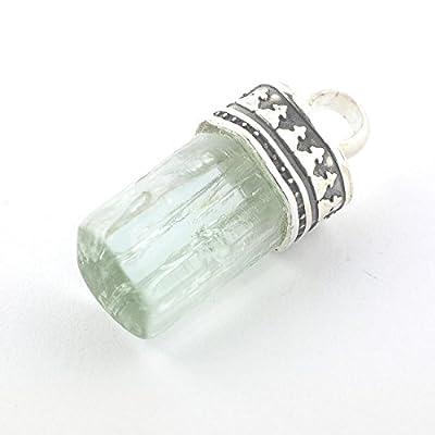 Pendentif de minéral Aigue-marine serti d'argent 925, 19x10x9 mm
