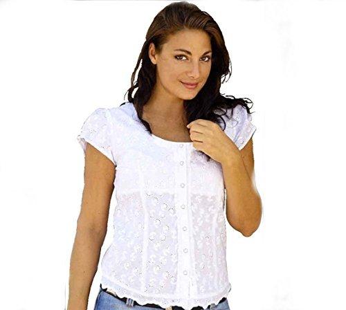 Ranch Western Shirt (Country Westernbluse Dame - VIRGINIA - Gr. XXXL - Sexy Stars & Stripes weiß Bluse)