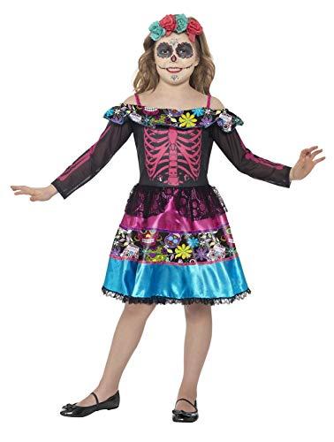 Smiffys 44930L - Kinder Mädchen Tag der Toten Liebste Kostüm, Alter: 10-12 Jahre, Größe: L, mehrfarbig