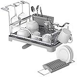 GBL - Égouttoirs à Vaisselle en Aluminium Grand Support de Rangement, Plateau Amovible et Couvercle pour Cuisine avec Bec Verseur Pivotant (Dish Rack 2)