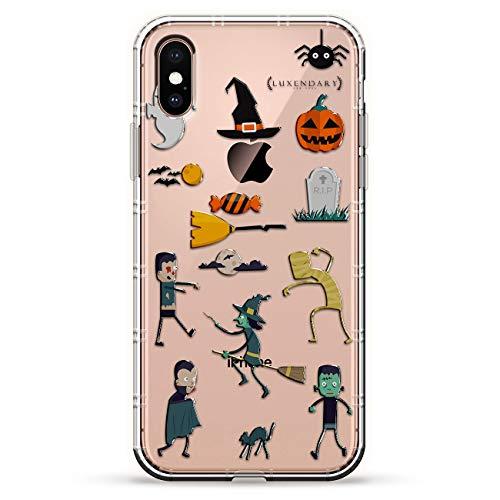 Luxendary Air Series Schutzhülle für iPhone XS/X (5,8 Zoll / 14,7 cm), Silikon, 3D-Druck-Design, Luftpolster-Kissen-Stoßdämpfer, Halloween, lustig, gruselig, Zombie Geist Hexe, farblos (Für Halloween Gruselig-designs)