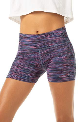 Lapasa pantaloncini sportivi donna fitness shorts sportivi per allenamento palestra running l09 (s/40(vita 60-70 cm), blu viola spazio-colorante)