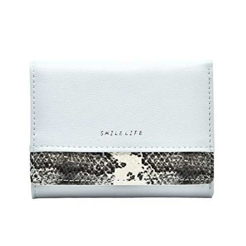 Badiya Mini Bifold Snakeskin Wallet Short Button Clutch Bag Trifold Card Holder Coin Purse for Women Gifts WW05505SY