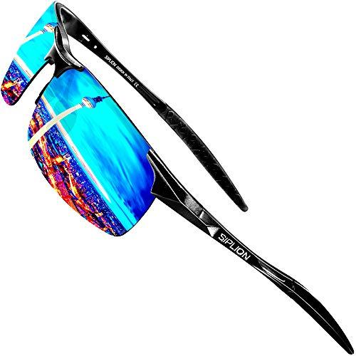 SIPLION Herren Sport Polarisierte Treiber Glasses Sonnenbrillen Al-Mg Metallrahme Ultra leicht 8177 Blue
