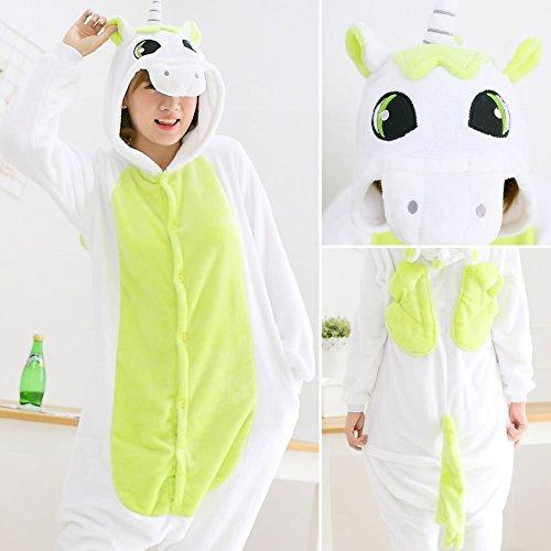 HOMEE Unisex Adult Pyjamas - Plüsch One Piece Cosplay Tier Kostüm Winter Verdickung Freizeitbekleidung,Grünes Einhorn,XL