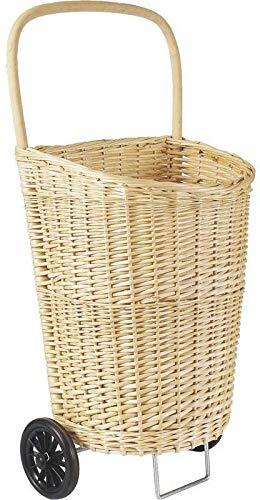 JJA-Carro de la compra, diseño de mimbre, color blanco con mango de madera