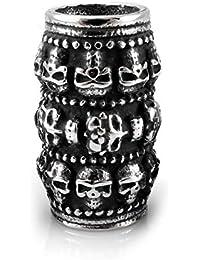 Perla para barba de acero inoxidable con diseño de calavera y diámetro interior de 9 mm.