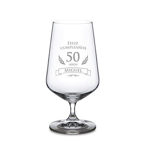 Copa de cerveza para el 50 cumpleaños – Personalizada con el NOMBRE – Cervezas tipo Pilsen – Vaso de cristal con grabado – Copa tulipa – Para amantes de la cerveza – Capacidad: 0,4 l – Regalos originales de cumpleaños