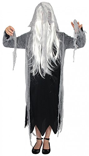 Foxxeo 40262 I Zombiekostüm Mädchen Teens Geister Kleid mit Kapuze und weißen Haaren, Größe:170/176 (Halloween Express Kostüme)