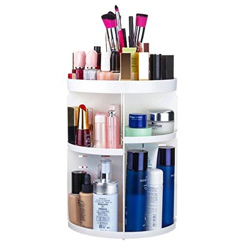TAPCET Organizer per cosmetici 360° ruotare Organizer Scatola Organizzatore Make up Casella di immagazzinaggio per rossetto, pennello, flacone cosmetico ecc bianco