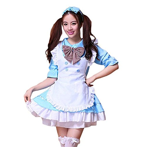 tzm2016 Women's Lolita Dress French Maid Costumes Anime Cosplay party Costumes Cute School Uniform ( sky blue £­Size M ) (Uniform Sky)