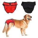 DELIFUR Hundewindeln, waschbar, verstellbar, auslaufsicher, für kleine bis große Hunde, 2 Stück, S
