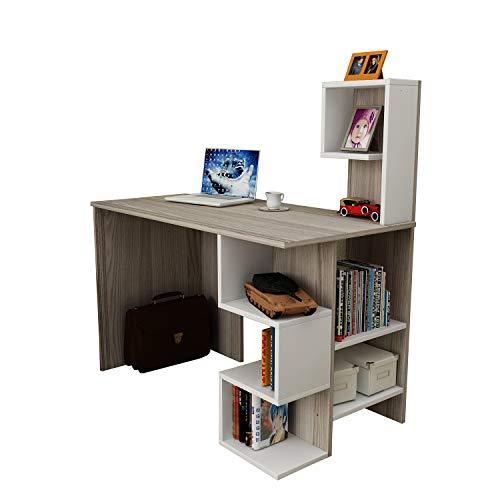 Deroni scrivania - avola / bianco - scrivania per computer - scrivania ufficio - porta pc - tavolo per computer con scaffale ripiano