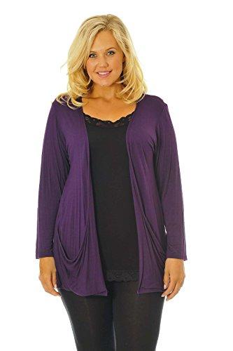 Nouvelle Collection Drop Pocket Cardigan Purple 24-26 -