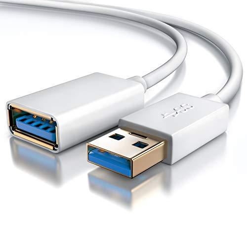 CSL - 2m USB 3.0 Verlängerungskabel | USB Erweiterungskabel/USB Verlängerung | bis zu 5 Gbit/s | doppelt geschirmt | Knickschutz | bidirektional | weiß